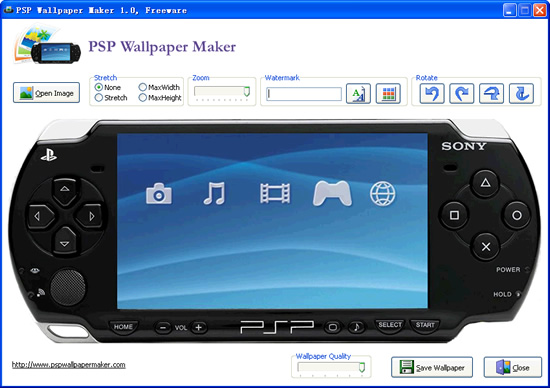Click to view PSP Wallpaper Maker 1.0 screenshot